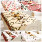 Christmas Rectangle Polyester Tablecloth Decors Santa Claus Design Table Cloth