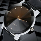Mens Quartz Watches Sport Military Stainless Steel Dial Leather Band Wrist Watch