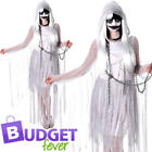 Ghostly Ladies Fancy Dress Halloween Undead Zombie Ghoul Womens Adults Costume