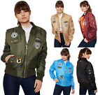 New Womens Combat Badge Air Force Army Long Sleeve Vintage Ladies Bomber Jacket