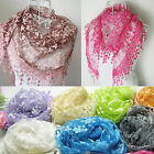Women Lace Tassel Rose Floral Knit Mantilla Triangle Hollow Scarf Shawl Wraps Ch