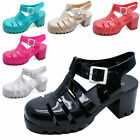 LADIES JELLY GLADIATOR RETRO SANDALS FESTIVAL BEACH HOLIDAY SHOES PUMPS UK 3-8