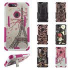 For ZTE Blade Z Max HYBRID KICK STAND Rubber Case Phone Cover + Screen Guard