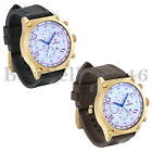 Luxury Mens Large Round Face Leather Band Business Quartz Wrist Watch with Date image