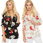 Womens Short Tab Sleeve Top Ladies Baggy Oversized Floral Print Zip Up Stretch