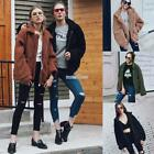 Women Turn-down Neck Long Sleeve Fall Winter Faux Fur Zipper Up Jacket S0BZ