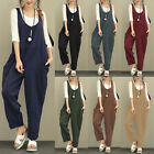 100%Cotton Women Sleeveless Dungaree Overall Long Playsuit Jumpsuit Romper Pant