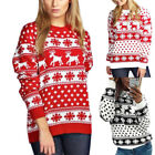 Merry Christmas Girl Xmas Women Long Knitted Sweater Reindeer Jumper Pullover