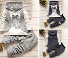 2pcs Baby Boys Formal Shirt Waistcoat Tops+Pants Trousers Outfit Hooded Clothes