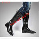 Mens Leather Pointed Toe Riding BLACK Boots High Military Boots Paradejackboots