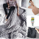 ☆ Big Luxury Hand Chunky Knitted Mink Warm Throw Over Bed Soft Blanket Bedspread