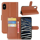 iPhone XS / X Case Wallet Cover Card Holder Kickstand Shockproof Brown Leather