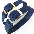 16mm DARK BLUE EASY FIT WOVEN FABRIC PERLON 1 PIECE WATCH STRAP. GOLD OR SILVER