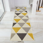 Ochre Mustard Yellow Gold Harlequin Runner Rug Long Narrow Soft Warm Hall Runner