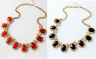 VINTAGE LOOK GOLD TONE RED OR BLACK OVAL ACRYLIC & RHINESTONE CRYSTALS NECKLACE
