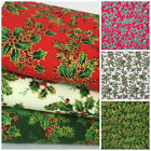Victorian Holly design 100% cotton fabric  per 1/2 Metre / Fat quarter