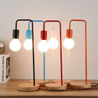 Loft Wooden & Metal Table Lamp Bedside Desk Floor Light Home Cafe Desk Decor