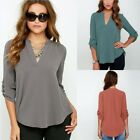 New Lady V Neck Fashion Chiffon Blouse Sexy Long Sleeve Shirt Girls Blouses