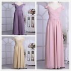 Womens Off Shoulder Maxi Chiffon V Neck Bridesmaid Formal Ball Gown Party Dress