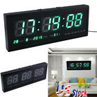 Modern Digital LED Table Desk Night Wall Clock Alarm Watch 24/12 Hour Display US