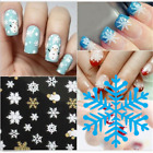 3D Christmas Nail Art Stickers Snowflakes Snowmen Decals Transfer 2sheets 97k