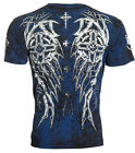 ARCHAIC by AFFLICTION Mens T-Shirt SPIKE WINGS Tattoo BLACK BLUE Biker UFC $40 image