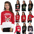 Womens Christmas Jumper Ladies Xmas Tops Novelty Knitted Santa Sweater UK Dress