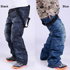 Mens Ski Snow Pants Denim Thick Warm Waterproof Outdoor Snowboard Jeans W/ Strap