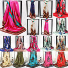 Women Ladies Printed Satin-Silk Scarf Silk Headband Neck Square Wrap Scarf Shawl