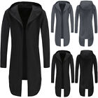 Men's Winter Warm Trench Coat Jacket Hoody Cardigan Sweatshirt Long Capes Cloak