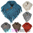 Womens Knitted Neck Scarf Ladies Tassle Snood All In One Scarf Neck Warmer
