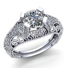 Natural 1.5ct Round Diamond Ladies Vintage Solitaire Engagement Ring 10K Gold