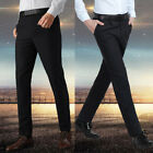 Classic Mens Casual Fitted Formal Straight Dress Pants Smooth Business Trousers