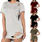 Summer Womens Hollow T-Shirt Short Sleeve Loose Casual Ladies Tops Blouse Dress