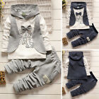 2pcs Set Gentleman Baby Boys Warm Clothes Cotton Hoodied Top +Pants Kids Outfits