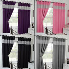 Thermal Blackout Diamante Eyelet Ring Top Pair of Curtains Black Pink Purple