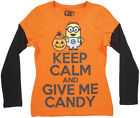 Minions Keep Calm Give Me Candy LS Shirt Girls 4-16 Halloween