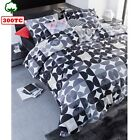 300TC Cotton Percale Quilt Cover Set Alster Black - DOUBLE QUEEN KING Super King