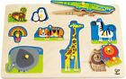 Hape WOODEN PEG PUZZLE Emergency Construction Vehicles Wild Farm Animals New