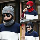 Fashion Mens Beanie Knitted Hat Warm Winter Fleece Lining Baggy&Neck Scarf 2PC