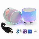 LED Light Mini Bluetooth Speakers Wireless Bass Speaker With TF USB FM Radio XXF
