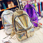 Fashion Hologram Holographic Laser Backpack PU Leather School Bag Casual xxf