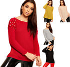 Womens Off Shoulder Pearl Jewel Ribbed Long Sleeve Sweater Top New Ladies Jumper
