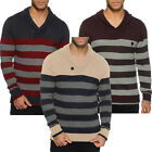 Mens Soulstar Stripe Knit Shawl Neck Jumper Long Sleeve Top Size