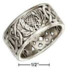 SS FILIGREE SCOTTISH THISTLE BAND RING WITH CELTIC KNOT Size 6,7,8,9,10,11,12