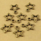 100pcs Bronze Silver Five-Pointed Star Charm Pendant Beaded Jewelry