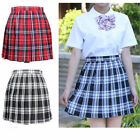 Student Girls Mini Skirt Plaid Cotton Schoolgirl Cosplay Costume Plus Size Dress