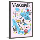 'Vancouver Iconic Sites - Pink' Framed Painting Print