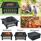 Outdoor Garden Fire Pit BBQ Grill Brazier Square Stove Patio Heater Firepit New