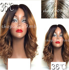 36C Pre Plucked Lace Front Wigs Ombre Bob Two Tone Wig Baby Hair Middle Part